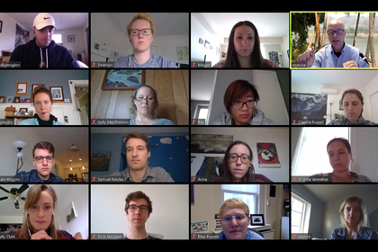Screencapture of a Zoom meeting for remote learning during COVID-19