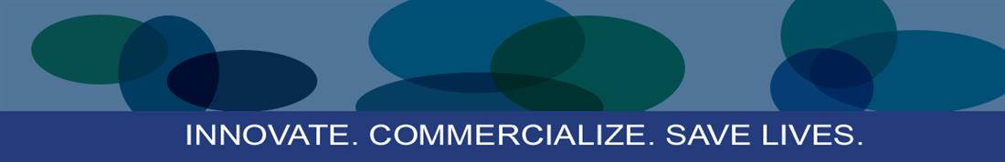 "iTREP Banner image with blue graphics and ""Innovate. Commercialize. Save Lives"""